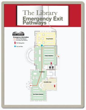 Exit pathway signs for each area emergency exit signs