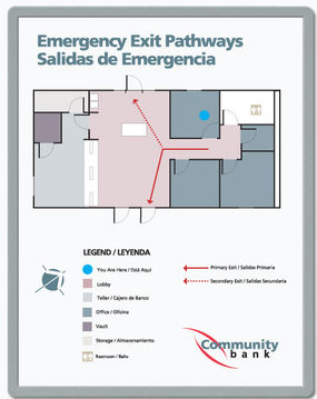 emergency exit pathway signs multi-lingual floor plan signs